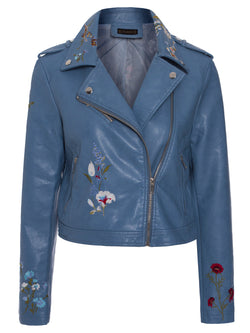 Slim Floral Embroideried Epaulet PU Jacket