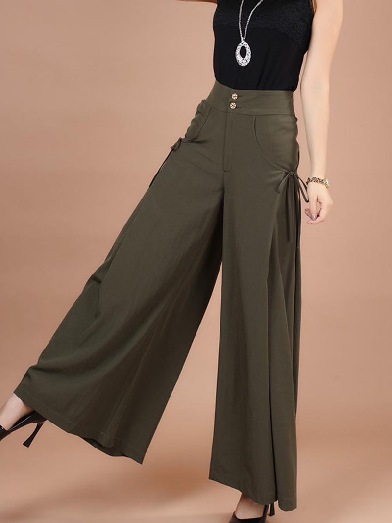 High-Waist Lace-Up Pocket Wide Legs Plain Pants