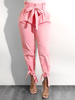 Women's Clothing Pink Bowknot Pants