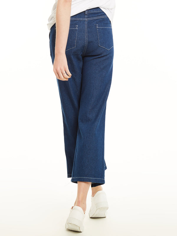 Ankle Length Wide Leg Zipper Women's Jeans