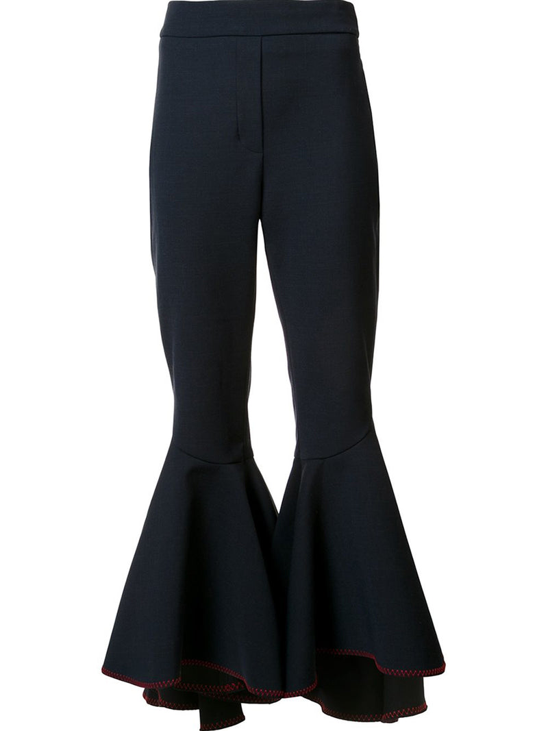 Ruffles Zipper Full Length Bellbottoms