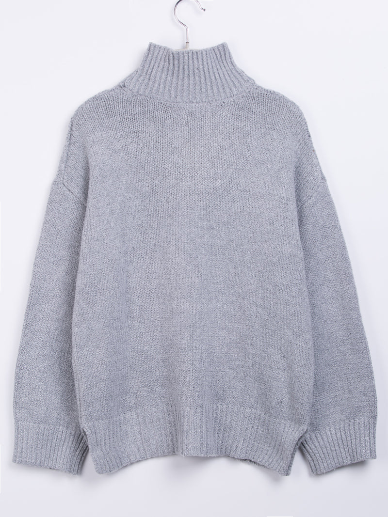 Turtleneck Coarse Wool Mid-Length Cable Sweater