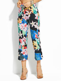 Color Block Cropped Print Wide Legs Women's Pants