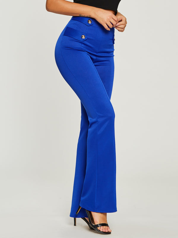 High-Waist Button Pure Color Pants