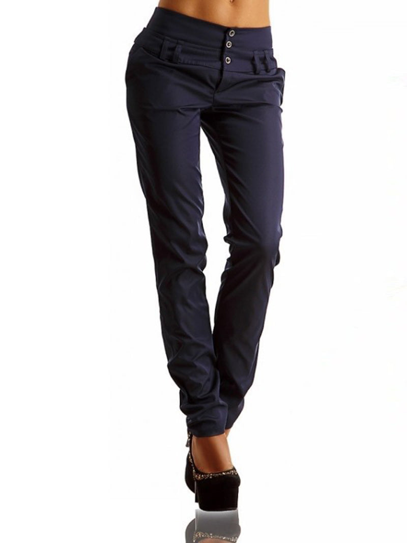 Plain Slim Mid-Waist Button Pocket Women's Casual Pants