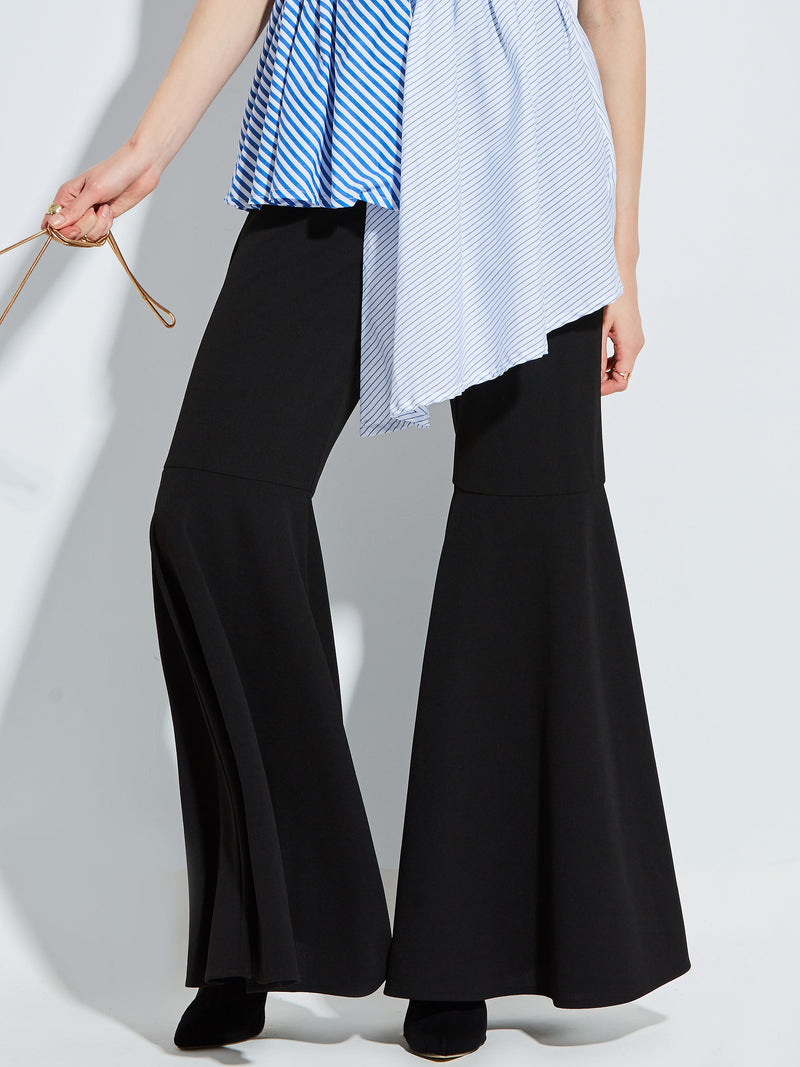 Pleated Plain Bellbottoms Pants