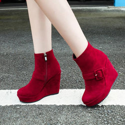 Buckle Platform Women's Wedge Heel Ankle Boots