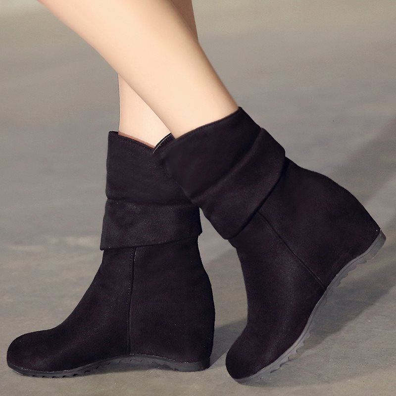Suede Elevator Heel Ankle Boots