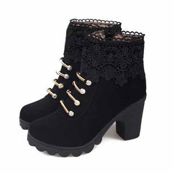 Mode-Lace-Patchwork-Ankle-Boots