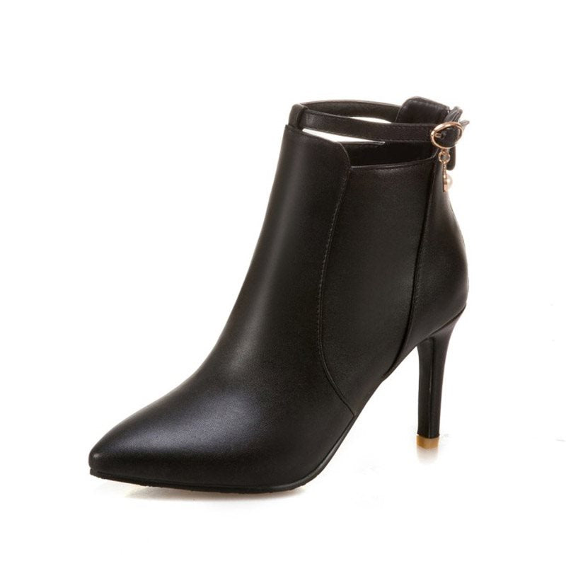 Plain Buckle Pointed Toe Stiletto Heel Boots