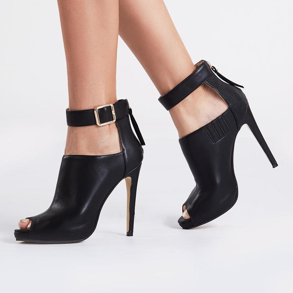 Black Ankle Strap Peep-toe High Heel Pumps