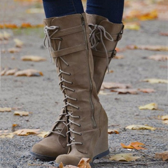 Casual Lace-Up Wedge Knee High Boots