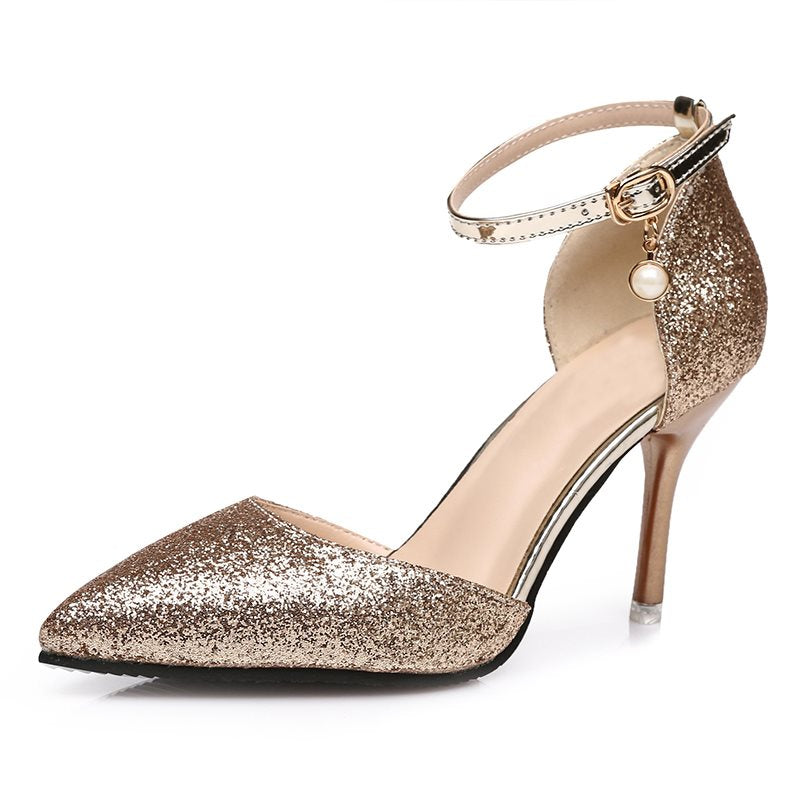 Glitter Line-Style Buckle Pumps