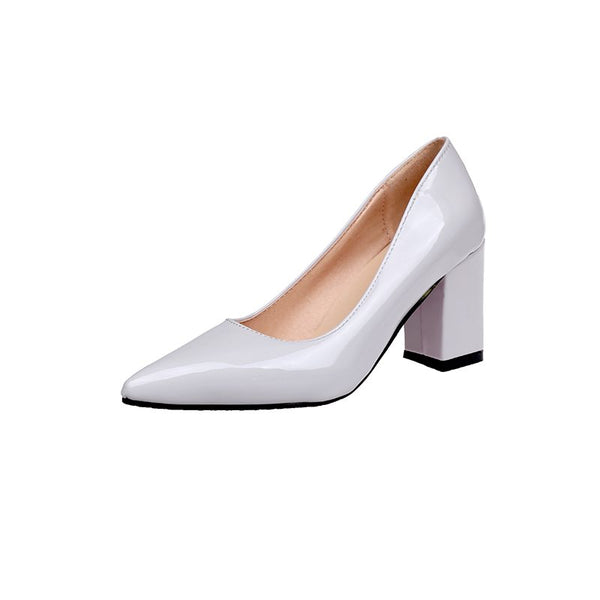 Professional Pointed Toe Plain Chunky Pumps