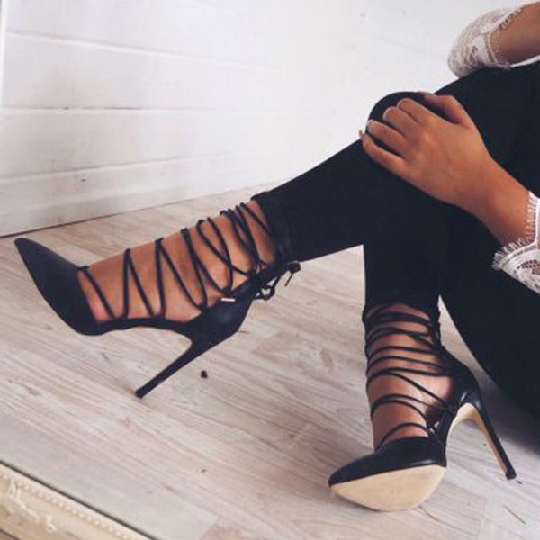 Black Lace Up Stiletto Heels
