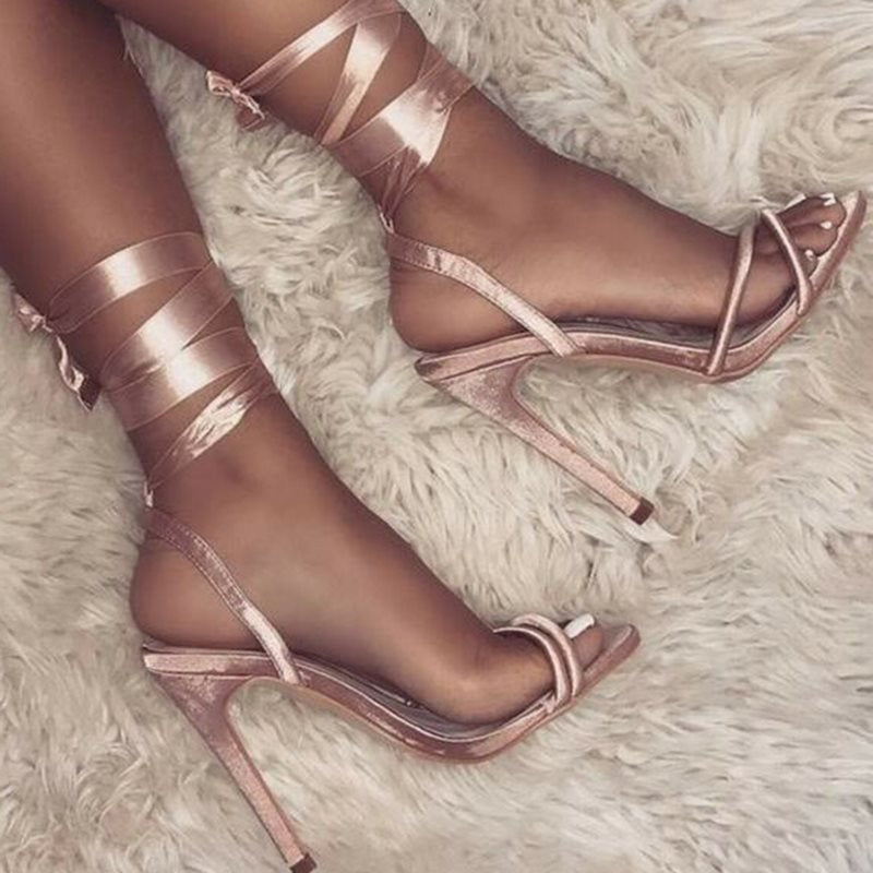 Sandales  Open Toe Lace-Up Stiletto Heel