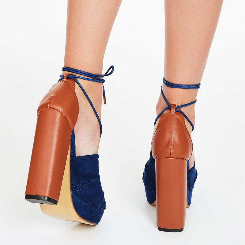 Sandales Suede Color Block Chunky Heel Open Toe Women's