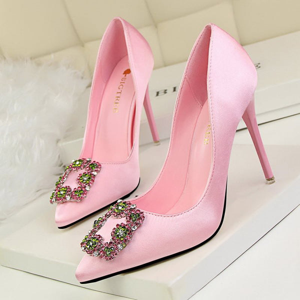 Rhinestone Slip-On Plain Stiletto Heel Pumps