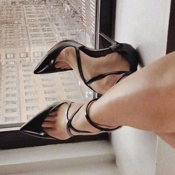 Black PU Pointed Toe Buckle Pumps