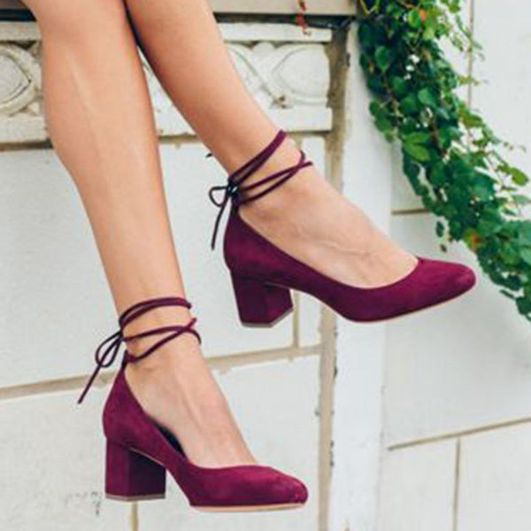 Suede Round Toe Chunky Heel Pumps