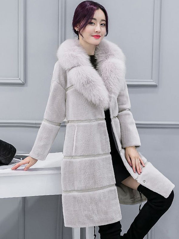Patchwork Faux Fur Women's Overcoat