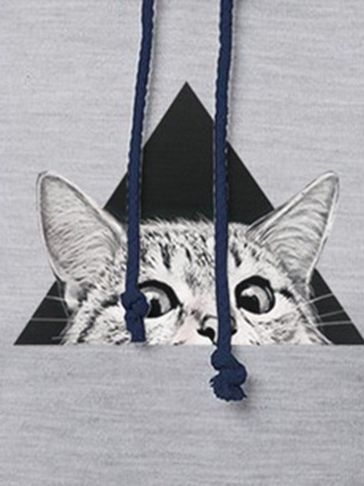 Print Cat Patchwork Casual Thicken Hoodie