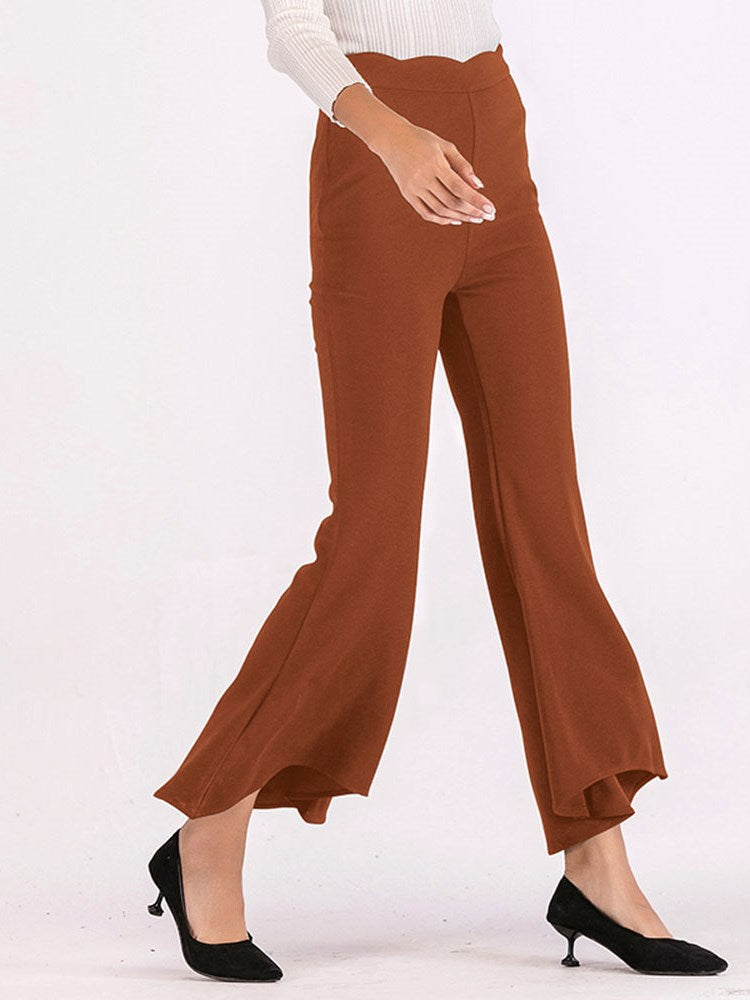 Solid Color High Waist Casual Pants