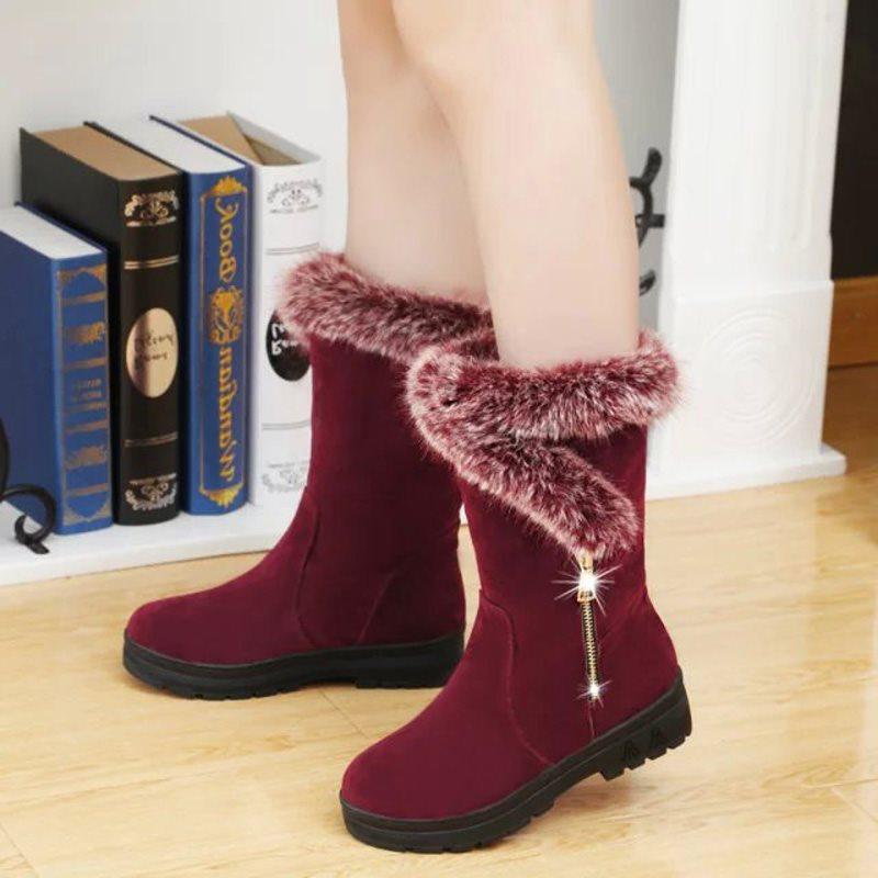 Solid Color Zipper Warm Snow Boots