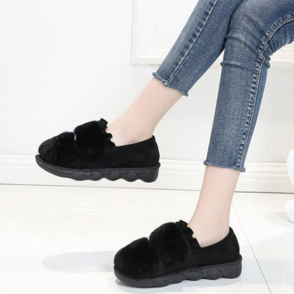 New Rabbit Fur Round Toe Warm Cotton Flats