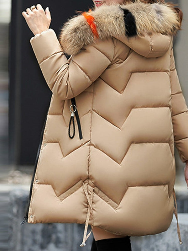 Thick Hooded Zipper Plain Casual Coat