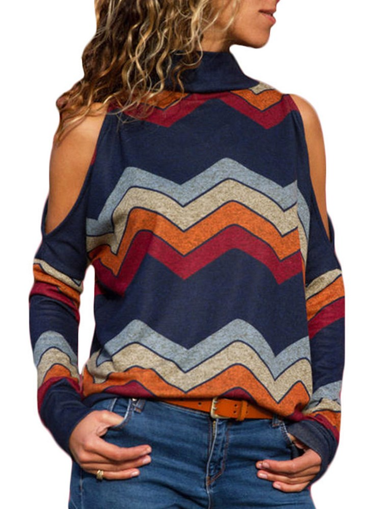 Striped Stand Collar Off Shoulder Knitwear