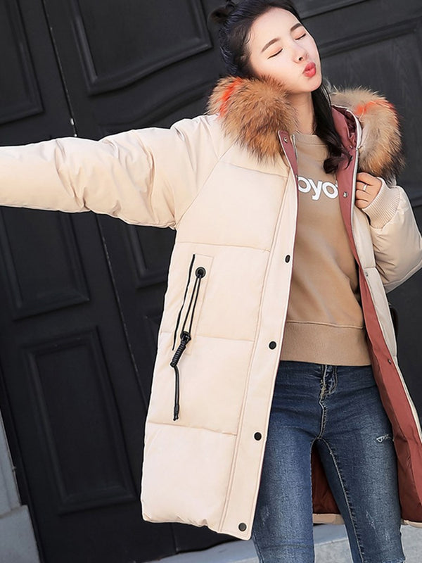 OL Fashion Winter Warm Zipper Cotton Coat