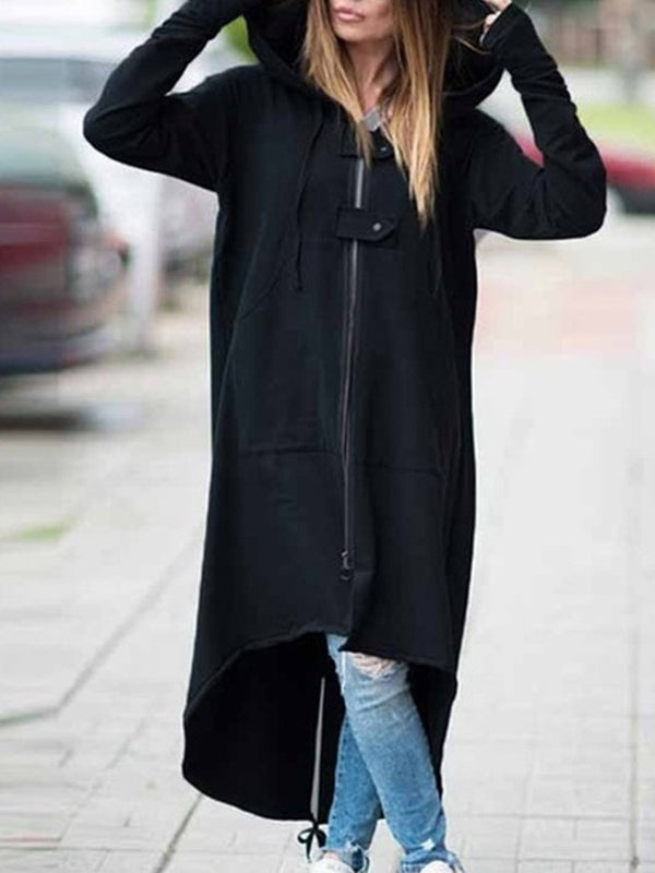 Asymmetric Zipper Long Sleeve Casual Hoodie