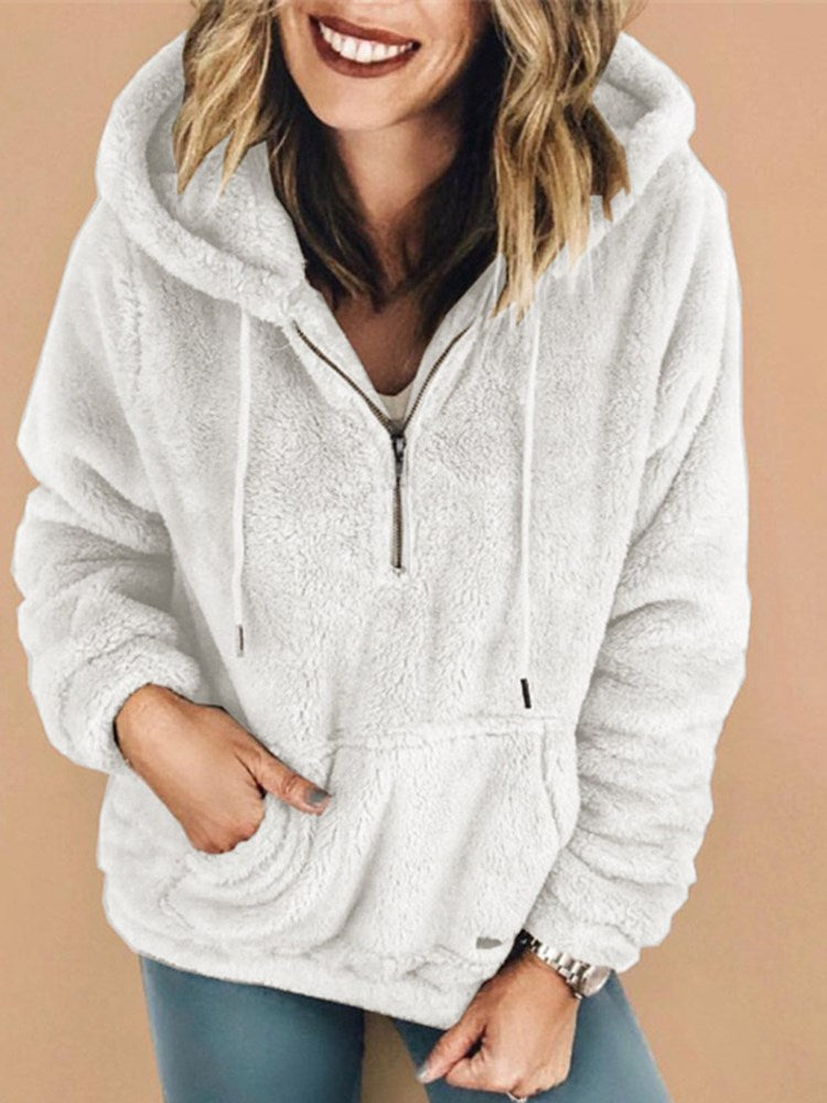 Loose Solid Color Zipper Cotton Warm Hoodie