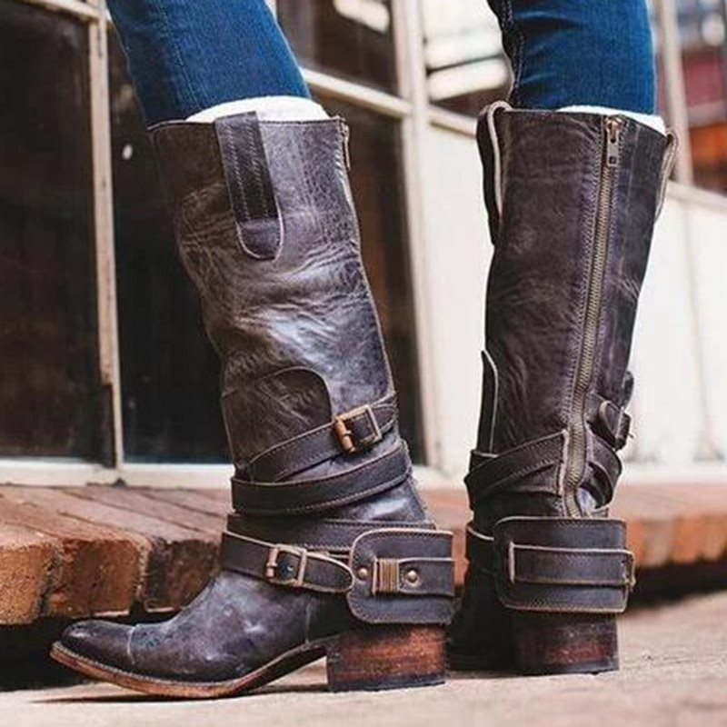 New Fashion Thick Heel Buckle Patchwork Women's Boots