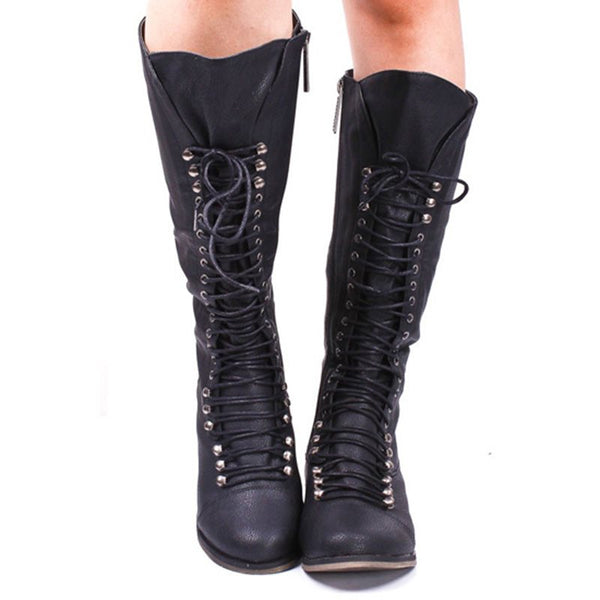 Cool Show Coppy Leather Lace-Up Knee High Boots