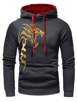 Unique Print Pocket Men's Pullover Hoodie