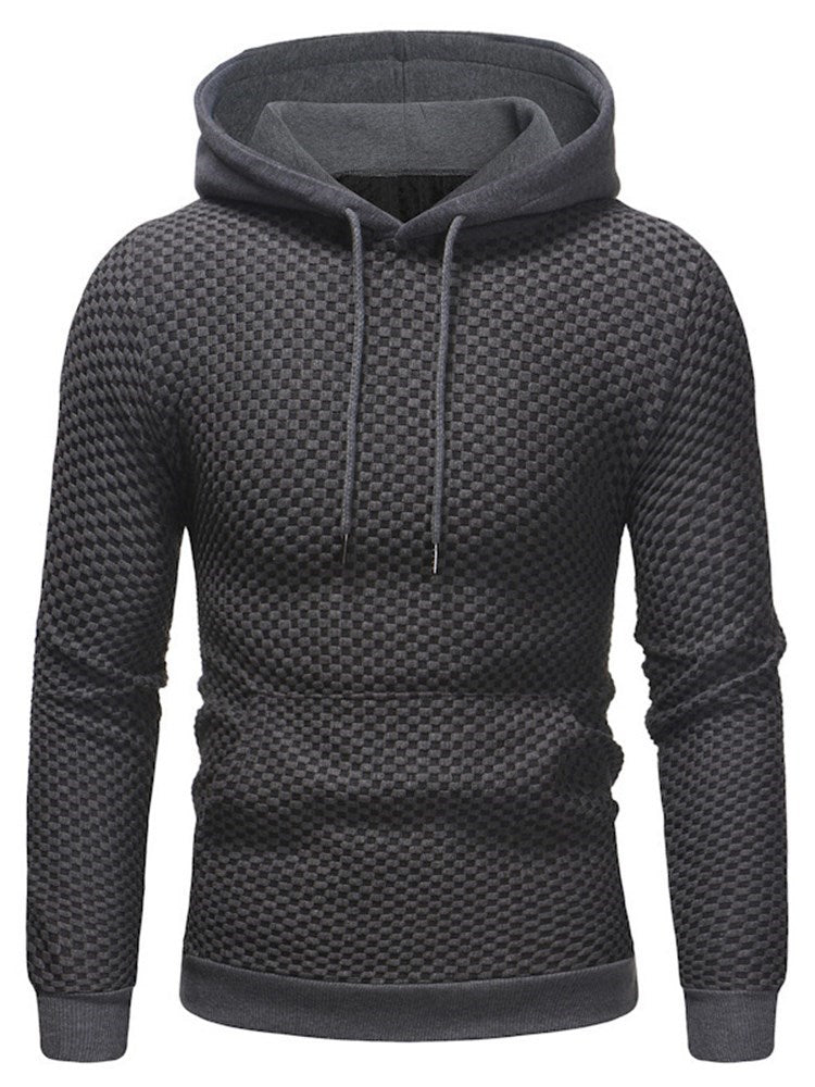 Plain Hooded Lace Up Patchwork Mens Casual Hoodie