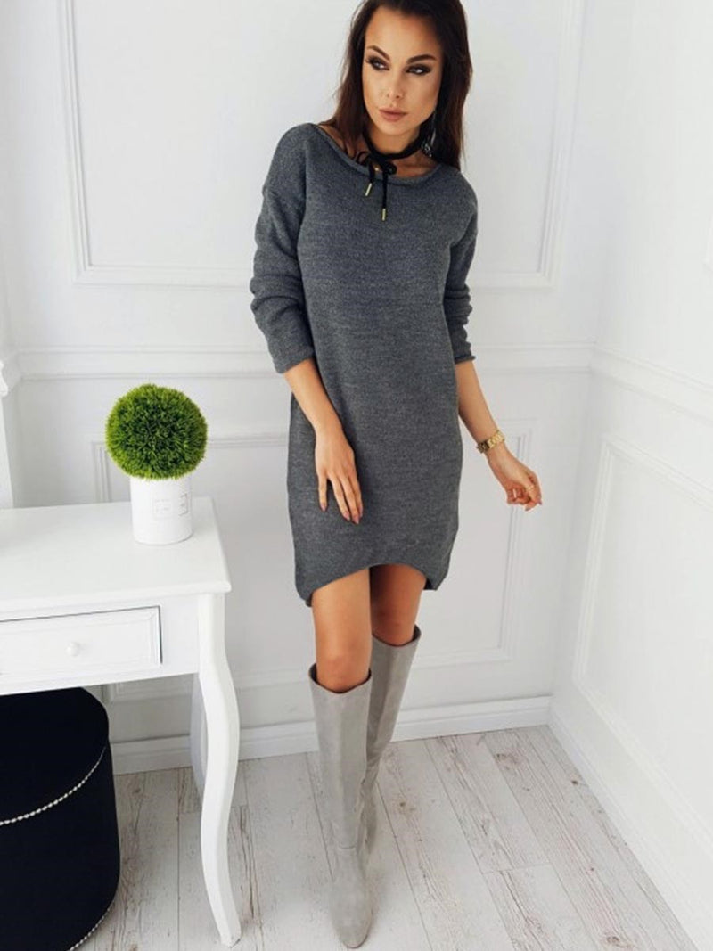 Robe Pull-over Col Round Manches Longues