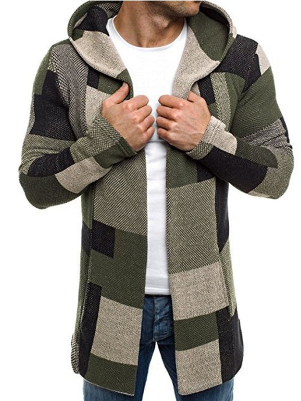 Manteau de Cardigan Mince à Carreaux Patchwork