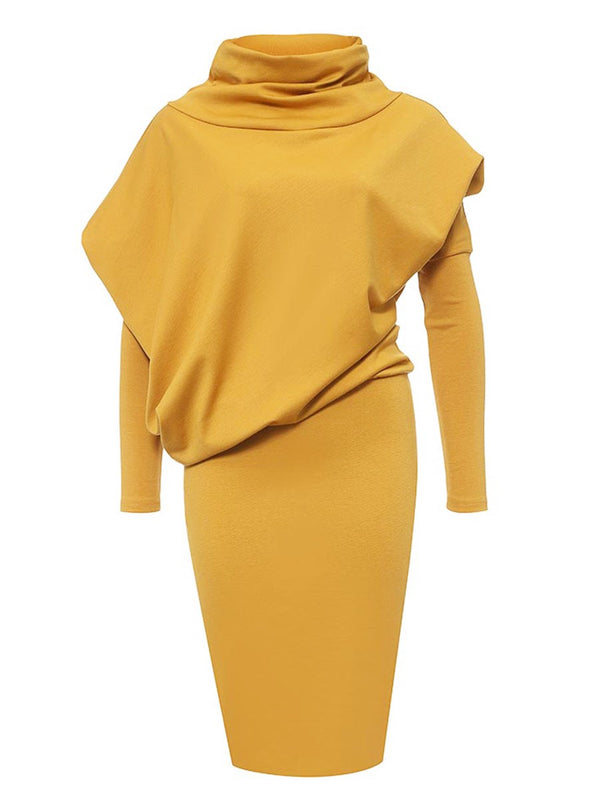 Asymmetric Patchwork Turtleneck Bodycon Dress