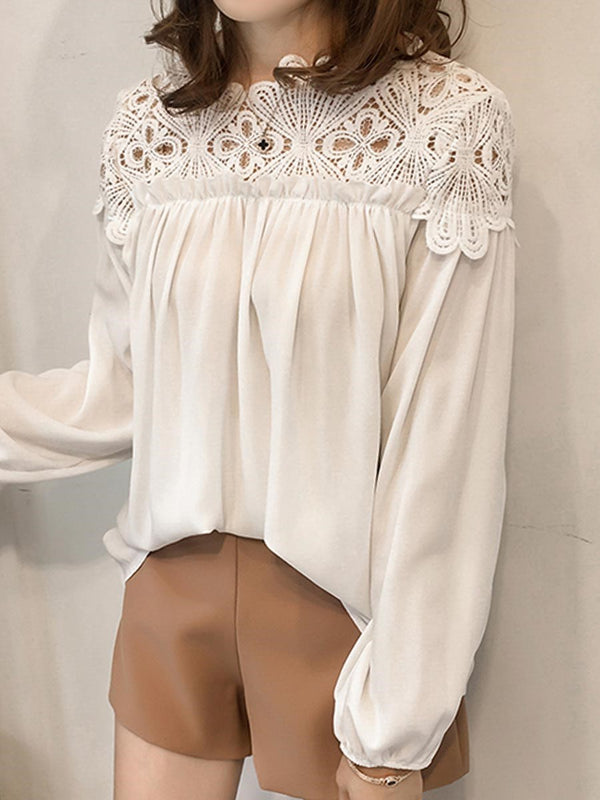Plain Loose Hollow Lace Blouse
