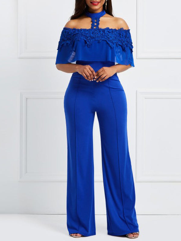 Lace Off the Shoulder Wide Leg Women's Jumpsuit