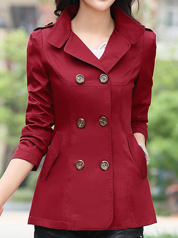 Classic Plain Double-Breasted Trench Coat