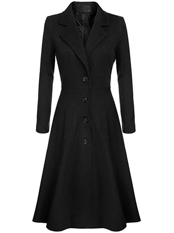 New Style Long Sleeve Pure Color Trench Coat