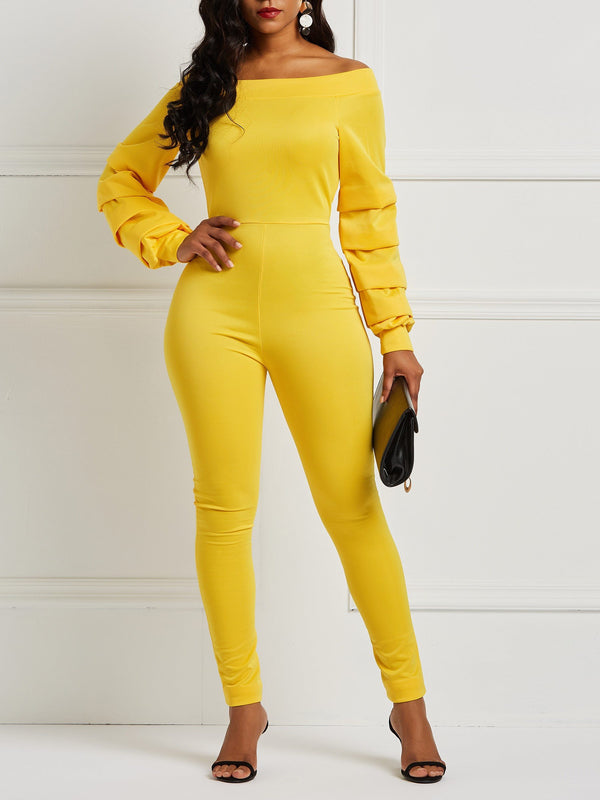 Off Shoulder Solid Color Zipper Jumpsuits