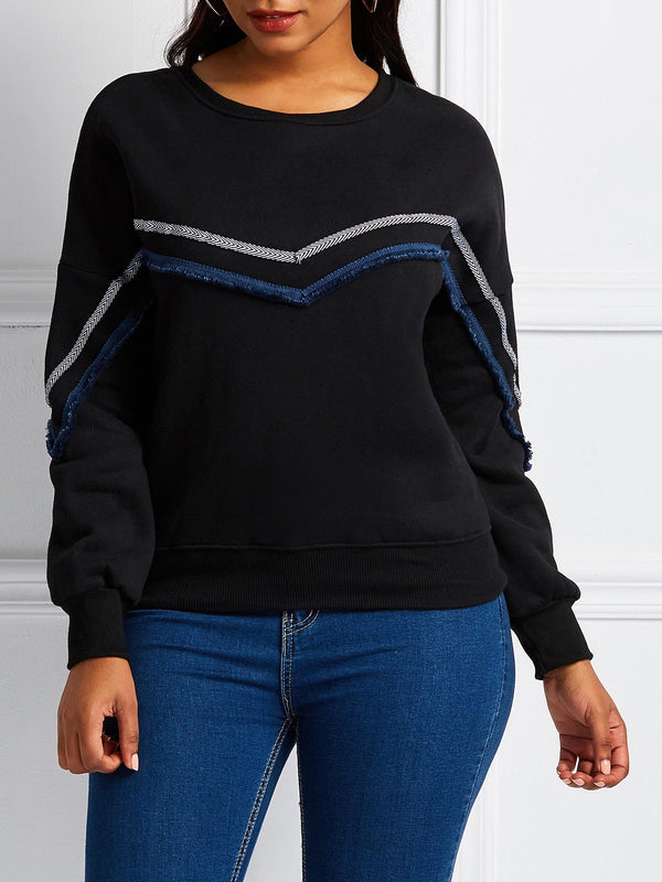Sweat-shirt Femme Standard Rayure Broderie Velours Manches Longues