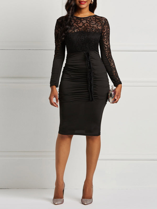 Backless Zipper Lace Bodycon Dress