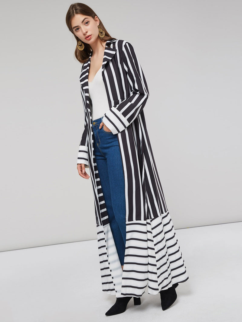 Stripe Notched Lapel Long Jacket