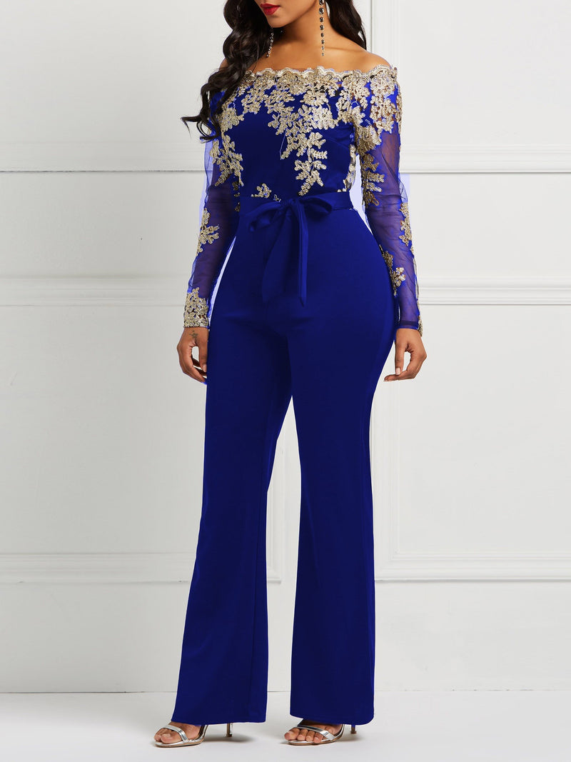 Blue Off Shoulder Lace Up Jumpsuits